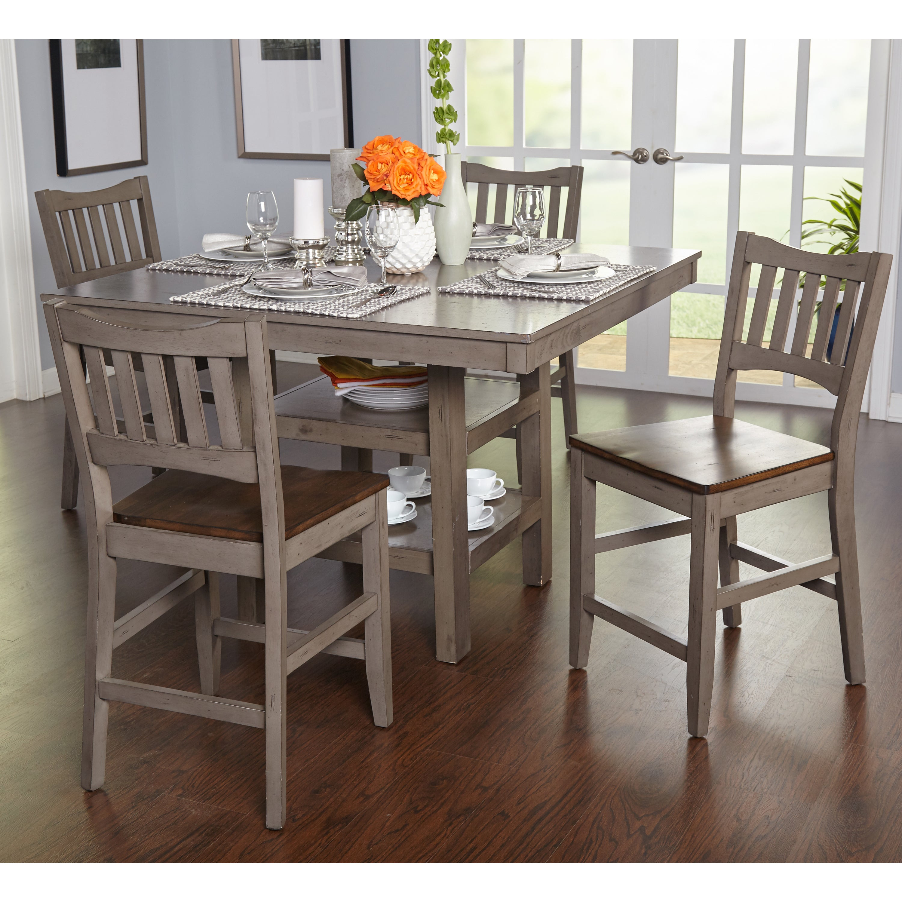 Simple Living Simon Counter Height Dining Table Distressed Grey