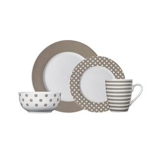 pfaltzgraff kenna taupe porcelain dinnerware set 16piece set