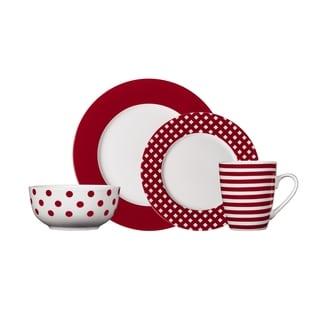 Pfaltzgraff Kenna Red Dinnerware Set (16-piece)  sc 1 st  Overstock.com & Gibsons Isaac Mizrahi Dot Luxe 16-piece Chartreuse Porcelain ...