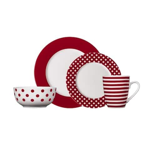 Pfaltzgraff Kenna Red Stoneware 16-piece Dinnerware Set