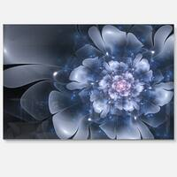 Fractal Flower Light Blue Petals - Floral Digital Art Glossy Metal Wall Art
