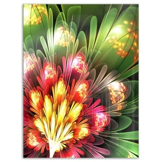 Fractal Flower Red and Green - Floral Digital Art Glossy Metal Wall Art