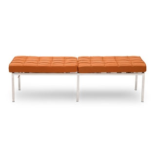 Florence Knoll-style Premium Aniline Leather 3-seater Bench