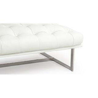 Kardiel Edward Premium Leather/Stainless-steel Midcentury-modern Classic Ottoman/Bench