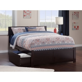 Orlando Queen Platform Bed with Flat Panel Foot Board and 2 Urban Bed Drawers in Espresso