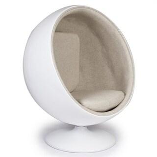 Kardiel Modern Ball Chair, Fiberglass/Fabric Midcentury Modern