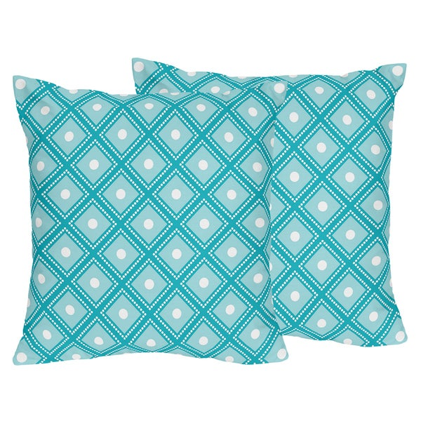 Sweet Jojo Designs Mod Elephant Collection Turquoise Polyester 18-inch Accent Throw Pillow (Set of 2)