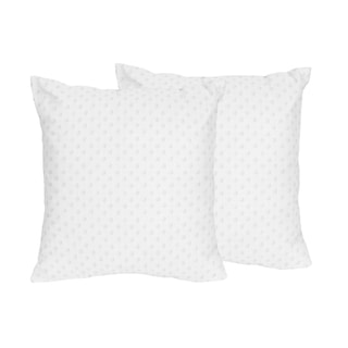 Sweet Jojo Designs White Minky Dot Collection White Polyester 18-inch Decorative Accent Throw Pillows (Set of 2)