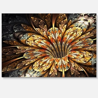 Golden Shiny Fractal Flower - Floral Digital Art Glossy Metal Wall Art