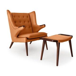 Kardiel Wegner-Style Papa Bear Walnut Leather Wingback Chair and Ottoman