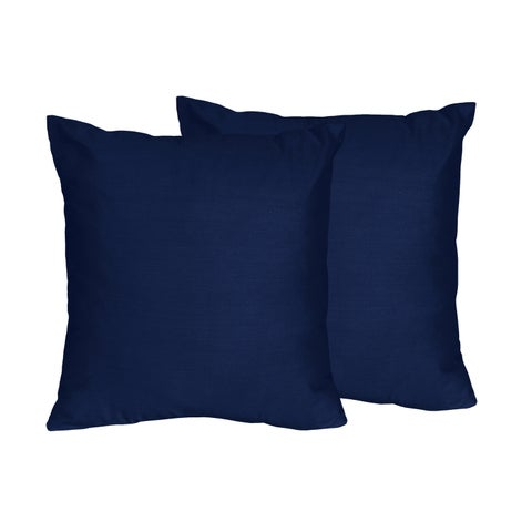 Sweet Jojo Designs Navy Blue and Grey Stripe Collection Decorative 18-inch Accent Throw Pillows (Set of 2)