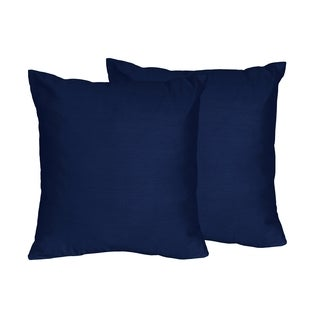 Sweet Jojo Designs Navy Blue and Grey Stripe Collection Cotton Decorative 18-inch Accent Throw Pillows (Set of 2)