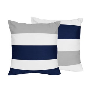 Sweet Jojo Designs Navy Blue and Gray Stripe Collection Decorative 18-inch Accent Throw Pillows (Set of 2)