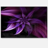 Fractal Flower Purple - Floral Digital Art Glossy Metal Wall Art