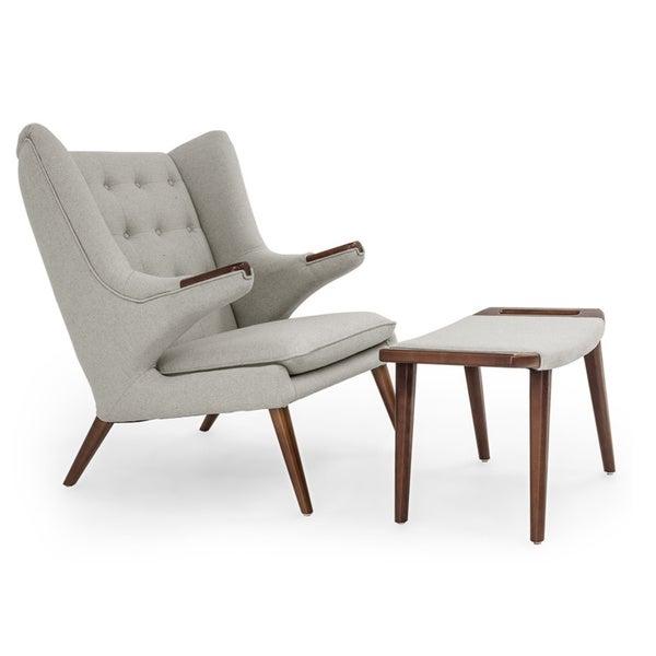 shop kardiel wegner style papa bear walnut wingback chair and