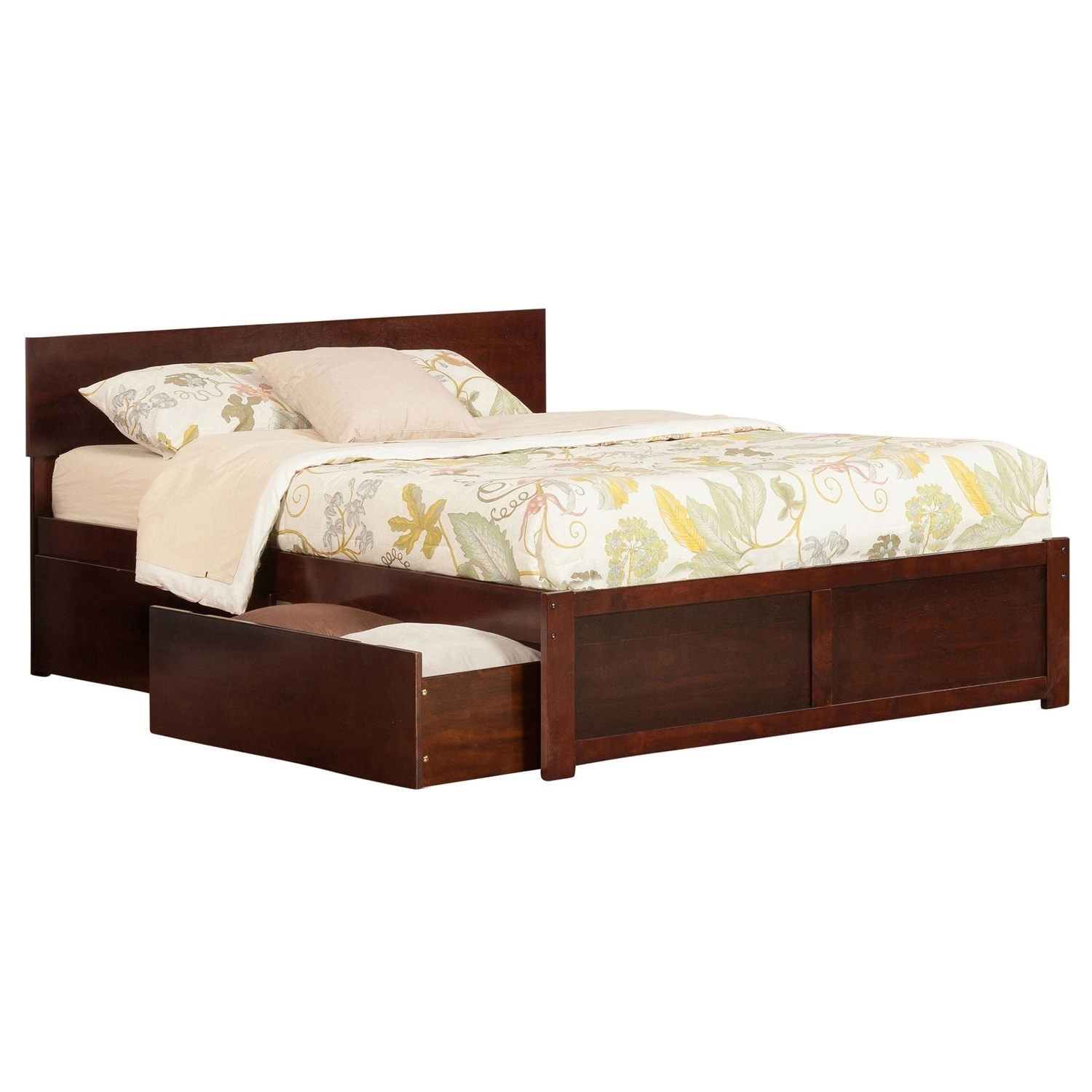 Shop Orlando Walnut Colored Queen Flat Panel Foot Board With 2 Urban Bed Drawers Overstock 12777711