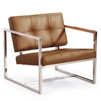 Kardiel Modern 1950 Aniline Leather and Stainless Steel Cube Chair