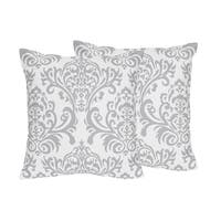 Sweet Jojo Designs Gray and White Damask Skylar Collection Decorative Accent Throw Pillows (Set of 2)
