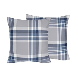 Sweet Jojo Designs Blue/Grey Polyester Accent Pillows (Set of 2)