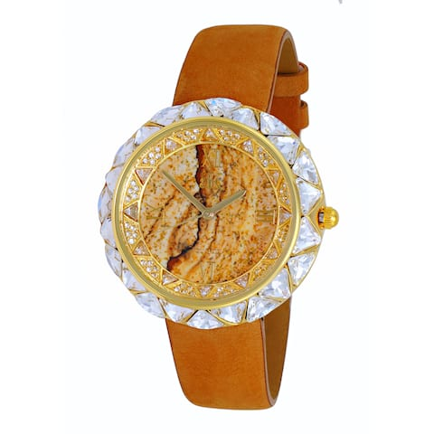 Adee Kaye Women's Gold-tone Exotic Stone and Crystal Watch