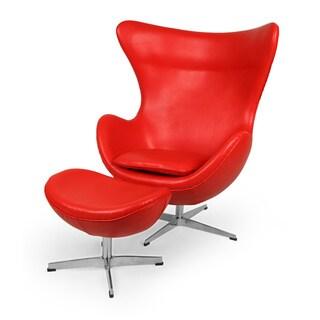 Kardiel Premium Aniline Leather Amoeba Chair and Ottoman