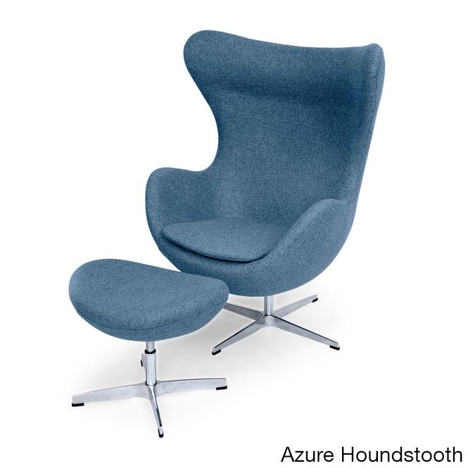 Kardiel Premium Twill Amoeba Chair and Ottoman (Azure Hou...