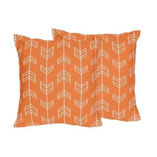 Sweet Jojo Designs Decorative Orange and Navy Blue Arrow Collection 18-inch Accent Throw Pillows (Set of 2)