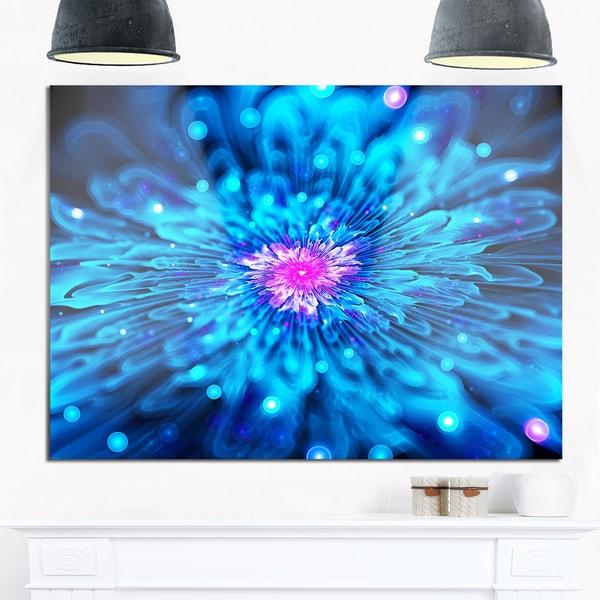 Shop Magical Blue Glowing Flower - Floral Digital Art Glossy Metal ...