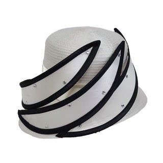 Swan Hat Ivory Black All Year Around Satin Ribbon Hat