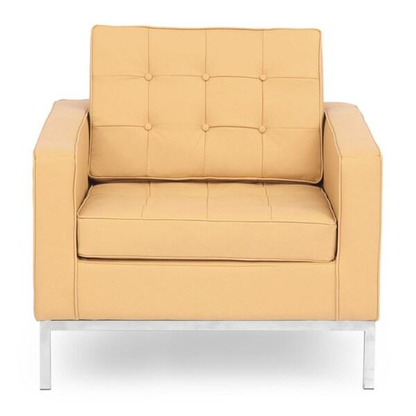 Beau Kardiel Florence Knoll Style Genuine Standard Grain Leather Armchair