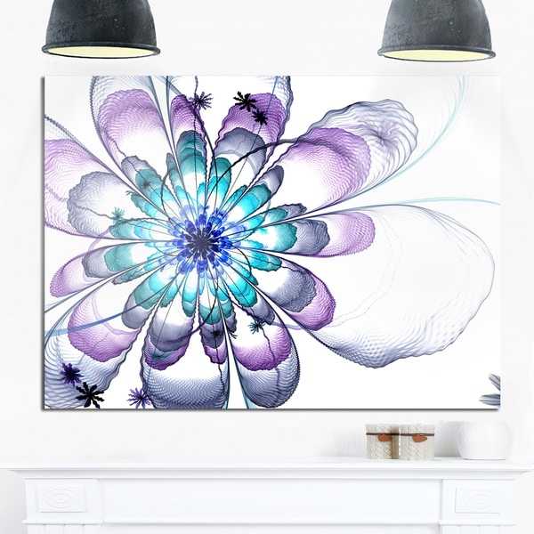 Fractal Flower Light Blue - Floral Digital Art Glossy Metal Wall Art