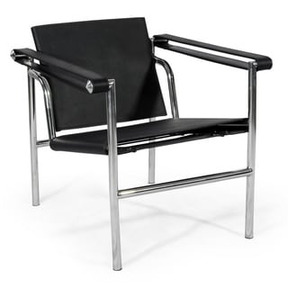 Kardiel Black Leather/Metal Sling Chair