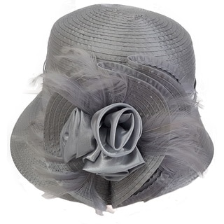 Swan Hat Women's Silver Grey Satin Ribbon Hat