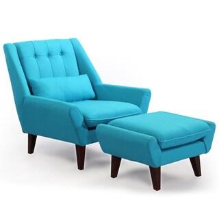 Kardiel Stuart Mid-century Modern Cashmere Wool Lounge Chair and Ottoman
