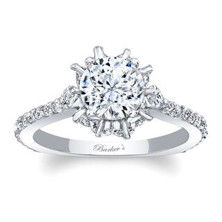 Barkev's 14kt White Gold Designer Round and Marquise Cut Diamond Engagement Ring