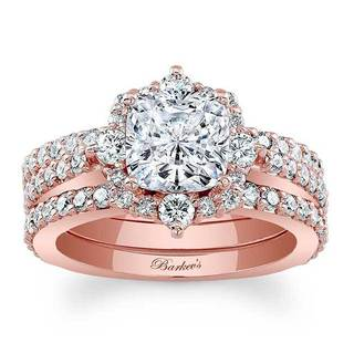 Barkev's Designer 14k Rose Gold 2 3/8ct TDW Round-cut Diamond Bridal Set