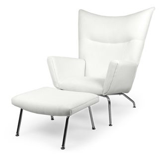 Exceptional Kardiel Hans J. Wegner Style Danish Cashmere Wool Wingback Chair And Ottoman