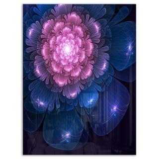 Fractal Flower Pink and Blue - Floral Digital Art Glossy Metal Wall Art
