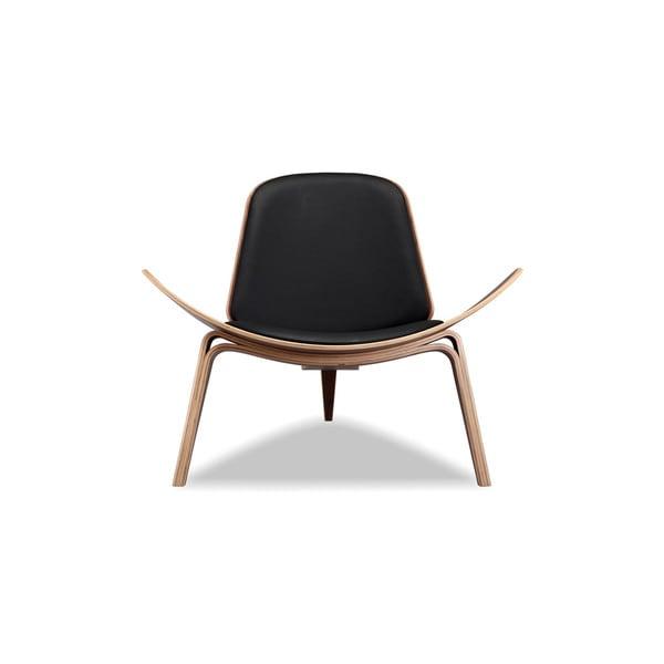 Kardiel Tripod Mid-Century Modern Italian Leather Walnut Lounge Chair