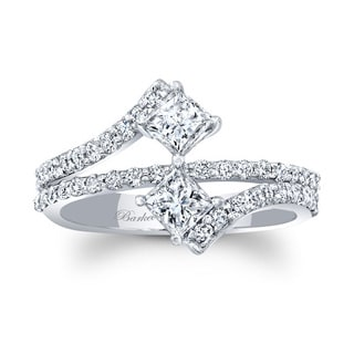 Barkev's 14k White Gold Designer Unique Princess Cut Diamond 2 Stone Ring