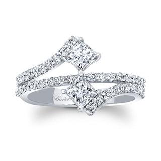 Barkev's 14k White Gold Designer Unique Princess Cut Diamond 2 Stone Ring
