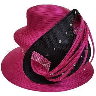 Swan Hat Designer Couture Fuchsia/Black Satin Ribbon All-year Around Hat