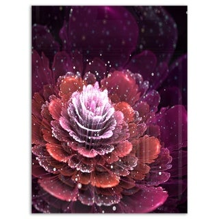 Fractal Flower Red and White - Floral Digital Art Glossy Metal Wall Art