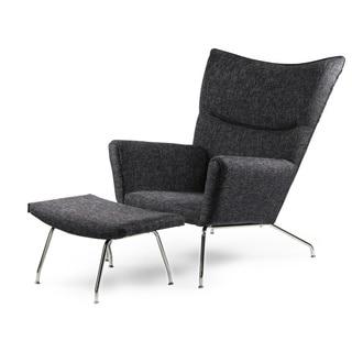 Kardiel Hans J Wegner-style Twill Wing Chair and Ottoman