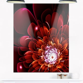 Fractal Red and Yellow Flower - Floral Digital Art Glossy Metal Wall Art