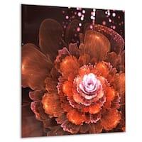 Fractal Orange Flower - Floral Digital Art Glossy Metal Wall Art