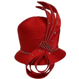 All Year Around Women's Red/Black Satin Ribbon Designer Couture Swan Hat
