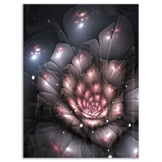 Fractal Flower with Pink Details - Floral Digital Art Glossy Metal Wall Art