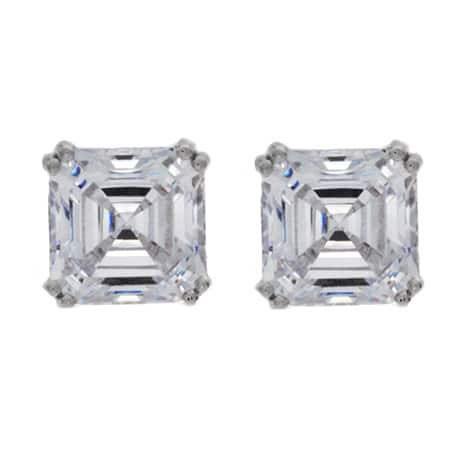NEXTE Jewelry Women's Sterling Silver Large Asscher-cut Cubic Zirconia Stud Earrings