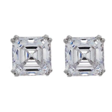 09b17bed7fa1d NEXTE Jewelry Women's Sterling Silver Large Asscher-cut Cubic Zirconia Stud  Earrings